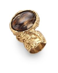 Saint Laurent | Brown Goldtone Arty Ovale Ring | Lyst