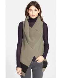 Joie | Green 'Ligiere' Sleeveless Boiled Wool Sweater | Lyst