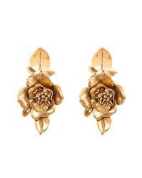 Oscar de la Renta | Metallic Russian Gold Flower Earrings | Lyst