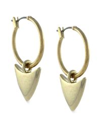 BCBGeneration - Metallic Gold-tone Arrow-head Hoop Drop Earrings - Lyst