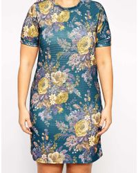 ASOS - Blue Exclusive T-shirt Dress In Printed Texture - Lyst