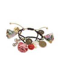 Betsey Johnson | Metallic Goldtone Shaky Coin and Fabric Flower Macrame Friendship Bracelet | Lyst