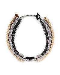 Venna - Metallic Crystal Pavé Strass Spike Collar Necklace - Lyst