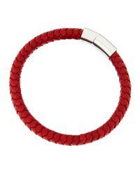 Tateossian | Metallic Silver Cobra Bracelet Red | Lyst