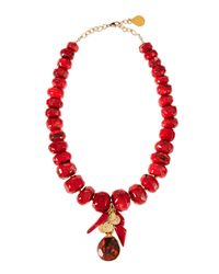 Devon Leigh - Red Coral Jasper Beaded Cluster Necklace - Lyst