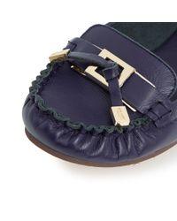 Dune - Blue Goslin Hardware Trim Leather Moccasins - Lyst