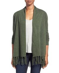 Kinross Cashmere - Green Fringed Cashmere Cardigan - Lyst