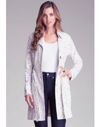 Bebe | White Lace Trench Coat | Lyst