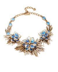 Oscar de la Renta | Blue Wildflower Statement Necklace | Lyst