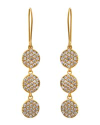 Freida Rothman | Metallic Pave Disc Triple-drop Earrings | Lyst