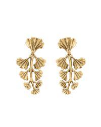 Oscar de la Renta - Metallic Russian Gold Gingko Leaf Earrings - Lyst