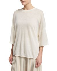 Helmut Lang | White Boxy Cashmere Raw-edge Tee | Lyst