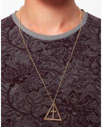 ASOS - Metallic Asos Geo Crucifix Pendant Necklace for Men - Lyst