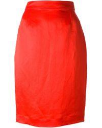 Lanvin - Red Long Zip Pencil Skirt - Lyst