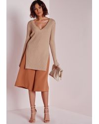 Missguided | Natural V Neck Knitted Rib Tunic Camel | Lyst