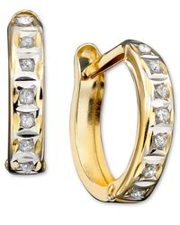 Macy's | Metallic 14k Gold Earrings, Diamond Accent Hoop Earrings | Lyst