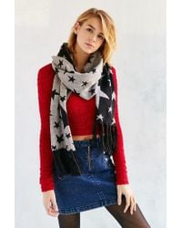 Urban Outfitters - Black Kitschy Intarsia Oblong Scarf - Lyst
