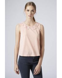 TOPSHOP - Womens Petite Lace Collar Top  Pink - Lyst