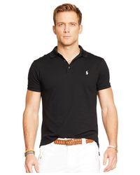 Polo Ralph Lauren - Black Custom-fit Stretch-mesh Polo for Men - Lyst