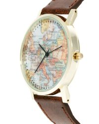 ASOS - Brown Watch With Map Print for Men - Lyst