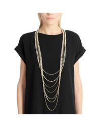 COACH - Metallic Long Tiered Cupchain Pave Necklace - Lyst