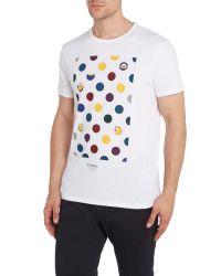 Ben Sherman | White Print Crew Neck Regular Fit T-shirt for Men | Lyst