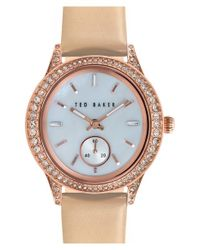 Ted Baker - Metallic Crystal Bezel Leather Strap Watch - Lyst