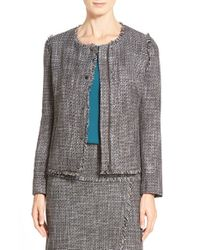 Halogen | Gray Zip-Front Tweed Jacket | Lyst