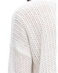Banana Republic | White Lace-stitch Vee Pullover | Lyst