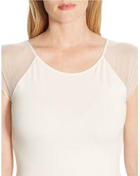 Lauren by Ralph Lauren | Natural Plus Sheer-sleeved Jersey Top | Lyst