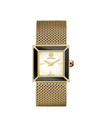 Tory Burch - Metallic Sawyer Watch, Gold-tone Mesh/onyx, 25 Mm - Lyst