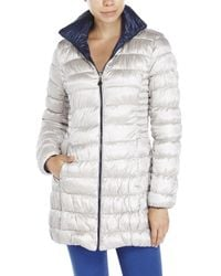 Laundry by Shelli Segal | Blue Reversible Quilted Down Coat | Lyst