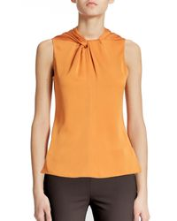 Armani | Orange Twist Silk Top | Lyst
