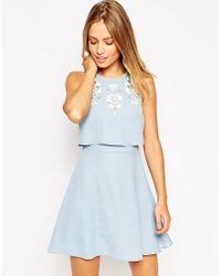 ASOS | Blue Embellished Crop Top Skater Dress | Lyst