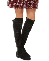 Giuseppe Zanotti - Black Calf Leather Croc Embossed Knee High Boots - Lyst