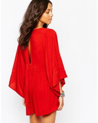 Motel | Red Kimono Sleeve Playsuit With Plunge Neck | Lyst