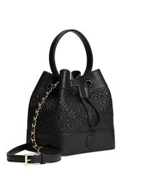 Tory Burch | Black Marion Quilted Mini Bucket Bag | Lyst