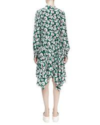 Stella McCartney - Green Floral-print Handkerchief Silk Shirtdress - Lyst