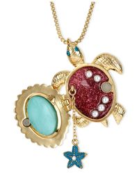 Betsey Johnson | Metallic Gold-tone Glass Pearl Crystal Turtle Pendant | Lyst