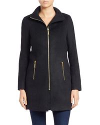T Tahari | Black Faux-fur Trimmed Coat | Lyst