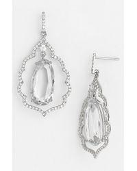 Nina - Metallic Scalloped Crystal Drop Earrings - Lyst