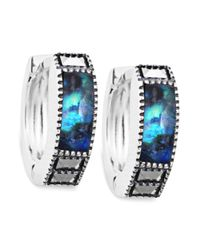 Judith Jack - Blue terling Silver Abalone Doublet (1-1/3 ct. t.w) and Marcasite (1/4 ct. t.w.) Huggie Hoop Earrings - Lyst