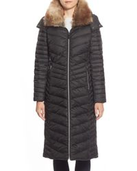 Marc New York | Blue 'kate' Faux Fur Collar Hooded Down & Feather Fill Maxi Coat | Lyst
