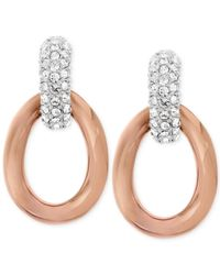 Swarovski | Pink Bound Rose Gold-tone Crystal Pavé Link Earrings | Lyst