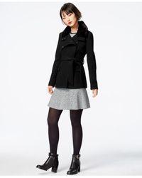 RACHEL Rachel Roy | Black Faux-fur-trim Textured Peacoat | Lyst