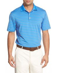 Peter Millar | Blue Quarter Stripe Stretch-Jersey Polo Shirt for Men | Lyst