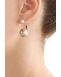 Delfina Delettrez - 18kt White Gold Earring With Pearls And Diamond - Rose - Lyst