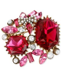 Betsey Johnson - Red Antique Gold-Tone Crystal And Imitation Pearl Cluster Pin - Lyst