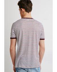 Forever 21 | Purple Striped Linen Ringer Tee for Men | Lyst