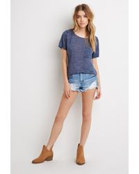 Forever 21 | Blue Curved-hem Slub Pocket Tee | Lyst